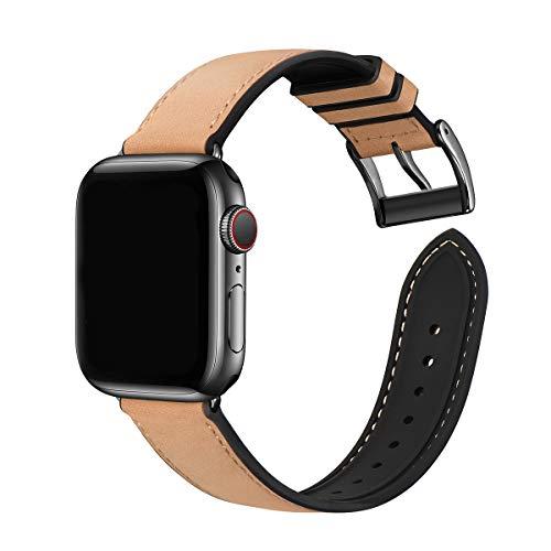 WFEAGL Kompatibel mit Apple Watch Armband 38mm 40mm 42mm 44mm,Wasserdichter Hybrid Leder Silikon Ersatzarmband Sportriemen, Kompatibel mit iWatch Serie 6/5/4/3/2/1 (42mm 44mm Braun+Schwarz Adapter)