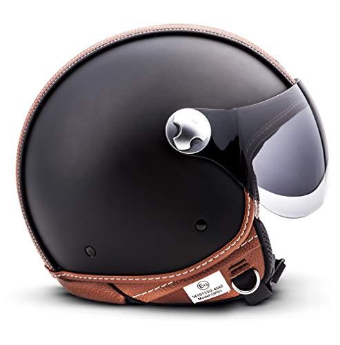 """white Armor /· AV-84 /""""Vintage Deluxe White/"""" /· Casque Moto Jet /· Scooter Demi Jet Cruiser Chopper Retro Helmet /· ECE certifi/é /· Visor /· Click-n-Secure/™ Clip /· Sac fourre-tout /·"""