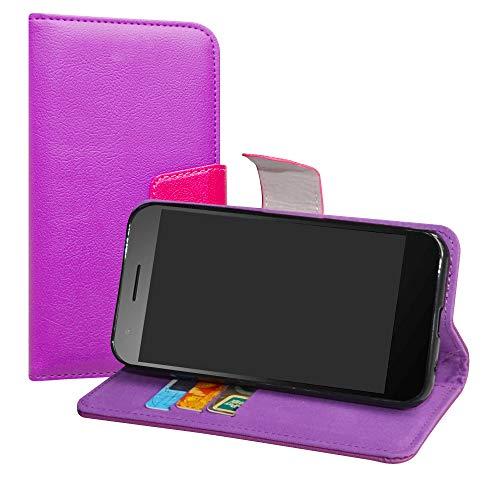 LiuShan Vodafone Smart E8 Hülle, Brieftasche Handyhülle Schutzhülle PU Leder mit Kartenfächer & Standfunktion für Vodafone Smart E8 Smartphone (mit 4in1 Geschenk verpackt),Violett