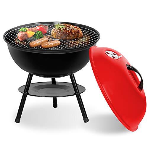 Sunjas Holzkohlegrill mit Deckel, Kleiner Kugelgrill, Mini Picknick Grill, emaillierter Campinggrill für Garten, BBQ usw. (Rot)