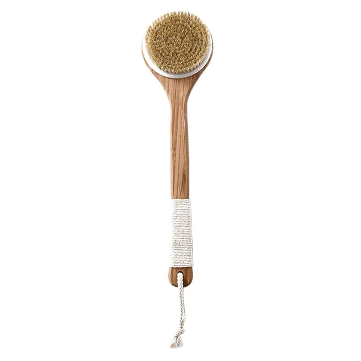 故意のウイルスコイル天然豚毛ブラシ 風呂ブラシ 背中ブラシ 体洗いブラシ シャワーブラシ 長いハンドル スブラシ 浴室用品 美肌 全身マッサージ 血行促進 Ammbous