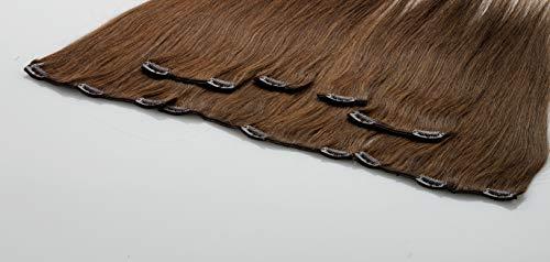 FROHLOCKE Clip In Extensions Echthaar 7tlg Set für komplette Haarverlängerung (30cm, 4 - schokobraun)