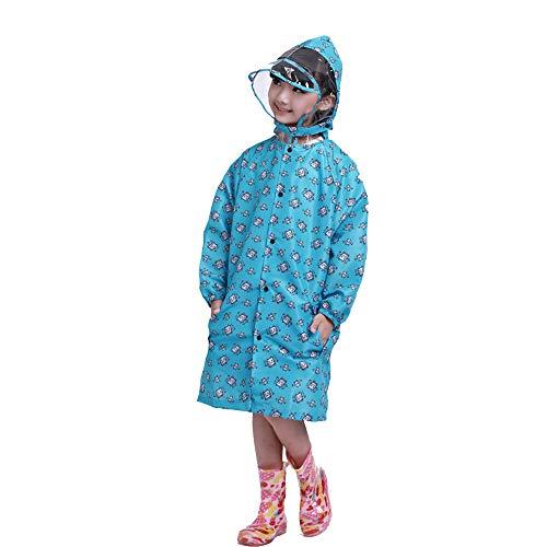 Imperméable pour enfants Geyao Manteau Poncho pour garçons et Filles pour Enfants d'âge préscolaire pour bébé (Color : Blue, Size : L)