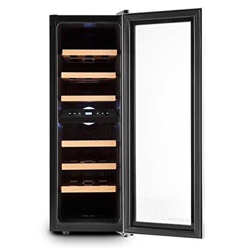 petit un compact Klarstein Duett 12 – Cave à vin, 2 zones froides, 6 clayettes en bois amovibles, capacité 65 l,…