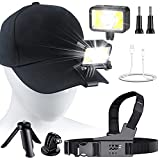 LED Clip On Cap Light 2 Pack Multifunction Outdoor Chest Light Head Lights Rechargeable for Running, Camping, Fishing, Cycling, Hiking, Waterproof