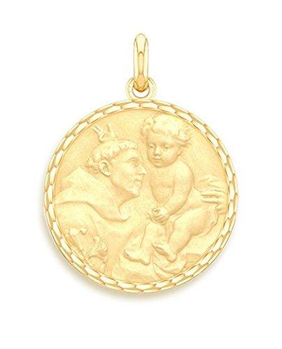 SAINT ANTOINE DE PADOUE - Médaille Religieuse - Or Jaune 9 carats - Diamètre: 17 mm - www.diamants-perles.com