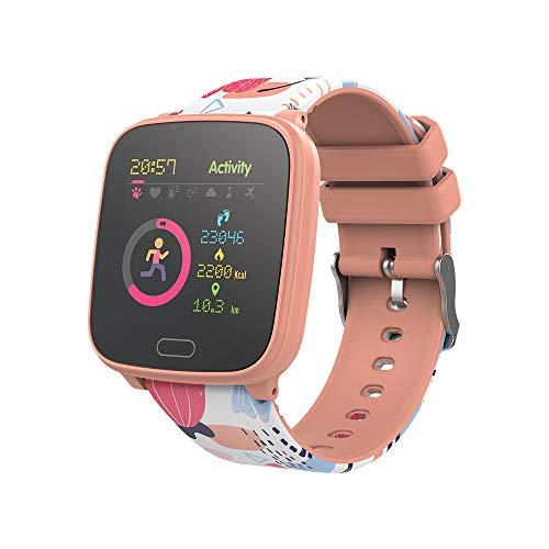FOREVER GO JW-100 - Reloj inteligente para niños con pasos, hora, fecha, gestión de música, alarma, color naranja