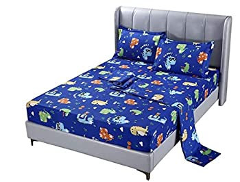 SDIII 3PC Dinosaure Bed Sheets Twin Size Animal Bedding Sheet Sets with Flat Fitted Sheet for Boys Girls and Kids