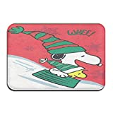 NA Felpudo para Interior/Exterior Happy Winter Snoopy, Felpudos Traseros de Goma Antideslizantes, Alfombras de Regalo para la Entrada
