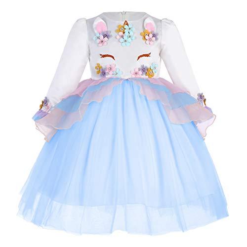 IWEMEK Princesa Beb Nia Vestido Unicornio Cumpleaos Disfraz de Cosplay para Fiesta Carnaval Navidad Bautizo Comunin Boda Azul 4-5 Aos