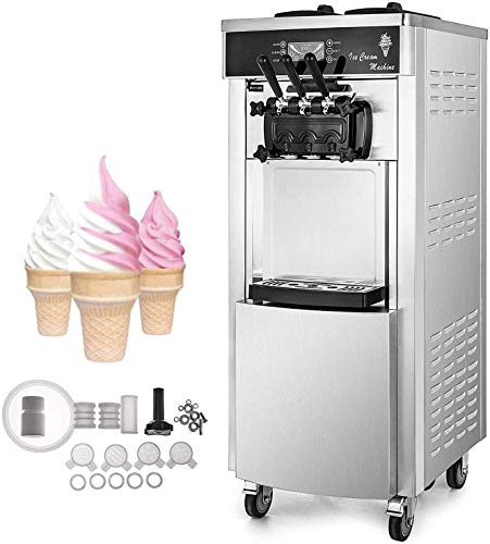 Happybuy 2200W Soft Ice Cream Machine Commercial 5.3 to 7.4 Gallons per Hour Ice Cream Machine Auto Clean Function Vertical Suitable for Restaurants Bars Cafes Bakeries