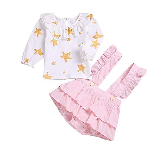 Borlai T-Shirt à Manches Longues Kids Girls Mignon + Jupe à Jarretelles 2pcs (Color : Gold Star+Pink, Size : 12M-18M)