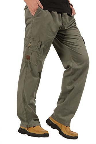 CardanWolf Men's Full Elastic Waist Casual Cargo Pants Loose-fit Outdoor Straight Pants with Multiple Zipper Pockets, Elastic Waist for Hiking Camping Travel 5XL - Army Green