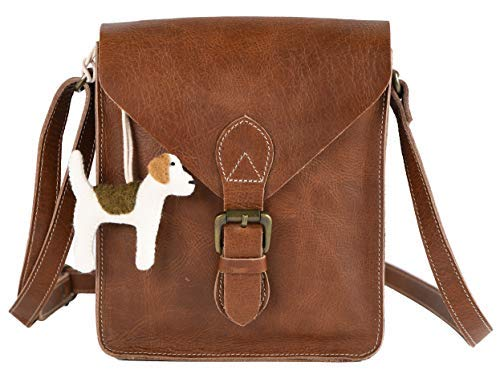Hide N Craft Full Grain Genuine Leather Crossbody Bag for Men and Women Crossover HandBag, Mini Shoulder, Vintage with Adjustable Strap, Unisex Purse (8.5x10x3.5 inches)- Tan Brown