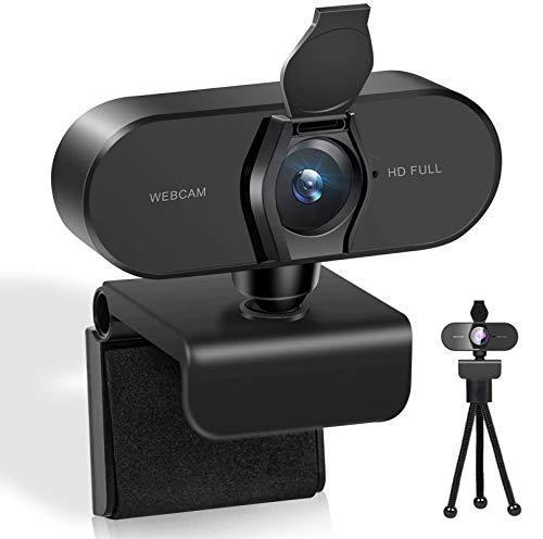Webcam mit Mikrofon für PC, Webcam HD 1080P Streaming Webcam usb mikrofon für MAC, Laptop, Plug and Play USB Kamera für YouTube, Skype usw. Videoanruf, Studieren, Konferenz, Spielen für drehbaren Clip