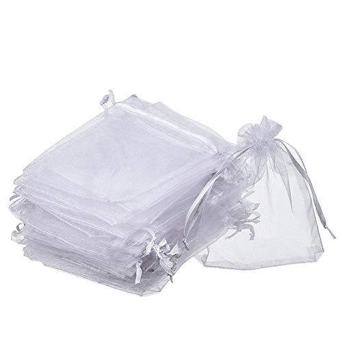 SUVIA 100pz 9x12cm Borse Organza Sacchetti Bianco Bustina Organza Portaconfetti per Nozze Regalo Caramella Partito Gioielli (Bianco, 7 x 9cm)