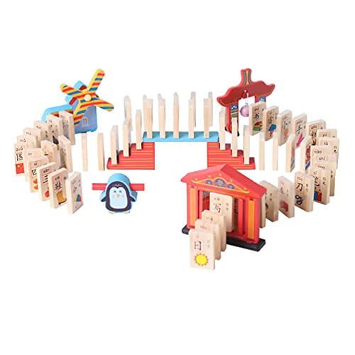 Balacoo Juego de Bloques de Dominó de Madera Azulejos de Dominó Juego de Juguete Educativo Juguetes de Cumpleaños Regalos para Apilar Edificios en Caída