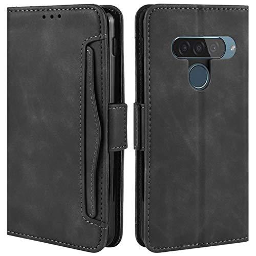 HualuBro Handyhülle für LG G8S ThinQ Hülle Leder, Flip Hülle Cover Stoßfest Klapphülle Handytasche Schutzhülle für LG G8S ThinQ Tasche (Schwarz)