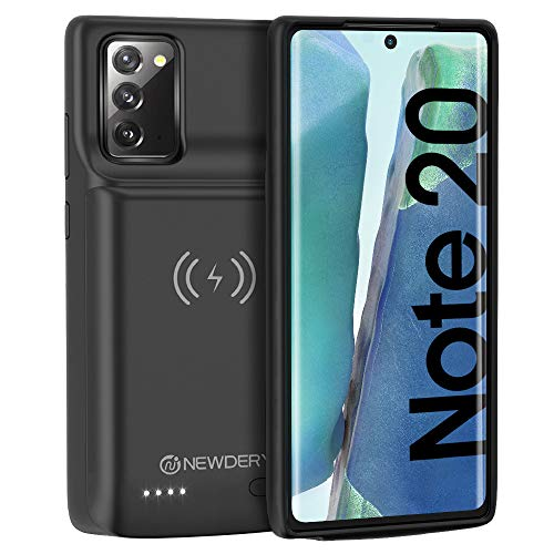 """NEWDERY Galaxy Note 20 Battery Case 10000mAh, 18W Fast Charging & Qi Wireless & Android Auto & Samsung Dex Supported, Rechargeable Power Extended Backup Charger Case for Galaxy Note 20 (6.7"""" Black)"""