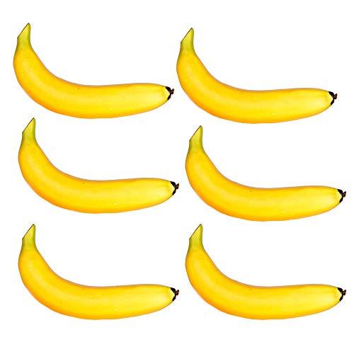 Fliyeong Künstliche Bananen Gefälschte Bananen Obst Kunststoff Bananen für Stillleben Gemälde Küche Decor 6 STÜCKE