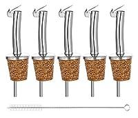 Incutex - Set di 5 beccucci in sughero con coperchio, versatore per olio, liquore, aceto