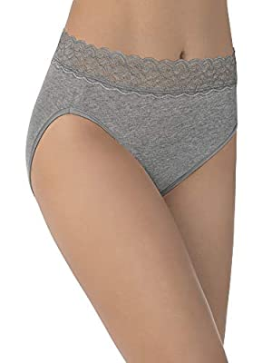 Vanity Fair Women's Flattering Lace Panties with Stretch, Hi Cut - Cotton - Heather Grey, 7
