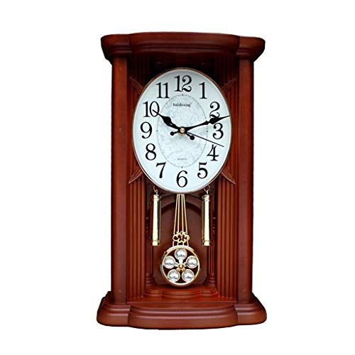 Sooiy Péndulo de Reloj de Escritorio Retro Reloj Reloj de Pared en la Pila de Madera con Reloj de Cuarzo y Carillon de Westminster Ajuste del Volumen Relojes de Chimenea,B