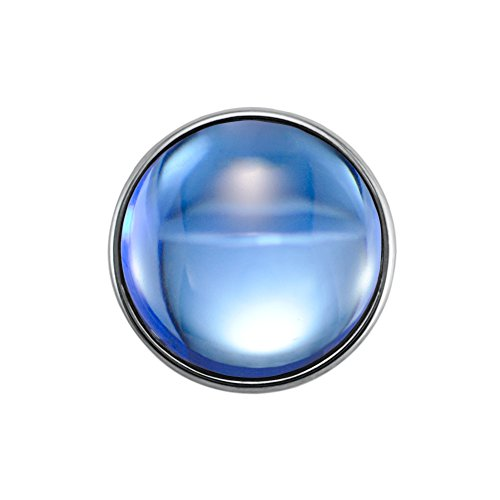 Quiges Damen Mini Click Button 12mm Dunkelblaue Glas