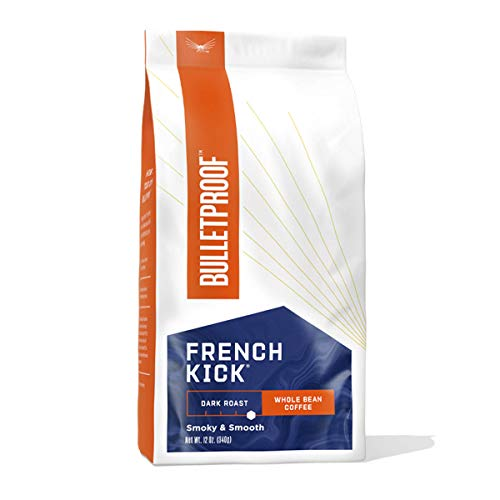 Bulletproof French Kick Whole Bean Coffee, Premium Dark Roast Gourmet Organic Beans, Rainforest Alliance Certified