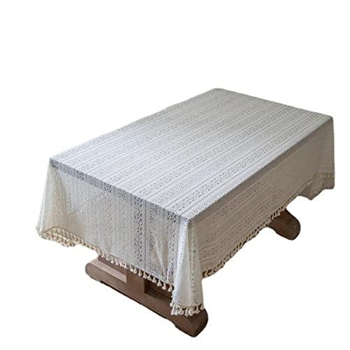 XIAOBAO Mantel para limpiar con toalla, tela rectangular de encaje hueco beige, tela de decoración de boda, 150 x 160 cm, para decoración de mesa de cocina y comedor