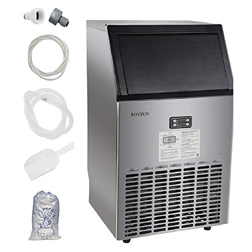 ROVSUN Commercial Ice Maker 100lbs/24h Automatic Built-In Stainless Steel Under...