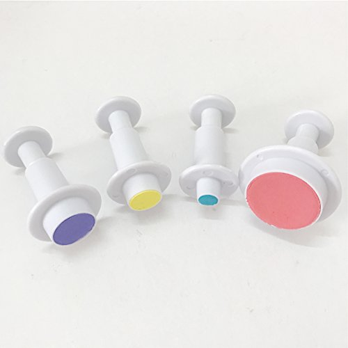 4-pieces Plastic Round Cookie Plunger Cutters Set Fondant Cutters and Molds for Cupcake Cake Topper Decorating Holiday Baking Color White