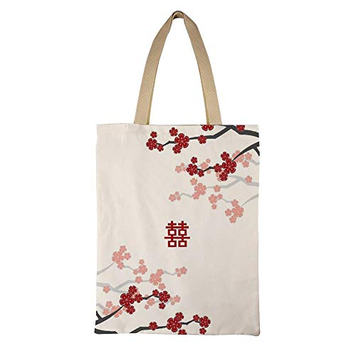 Red Oriental Cherry Blossoms On Ivory Women Grocery Shopping Shoulder Bag Resuable Canvas Tote Bag