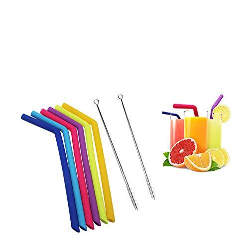 RAYBIN Pajas de Beber de Silicona Reutilizables Juego de 6 para Adultos- 2 cepillos de Limpieza (Pajitas de Silicona)