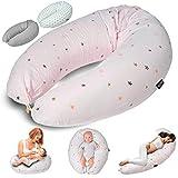 Almohada de lactancia Almohada de embarazo para dormir, descansar y amamantar Almohada para dormir de lado Almohada de posicionamiento para la madre y el bebé (Rosa)