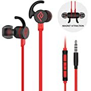Wired Earbuds, Parasom M2 PH Magnetic in-Ear Stereo Earphones, 3.5mm handsfree Sports Headphones with mic & Volume Control for Android/iOS (Black/red)