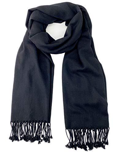 Pure Cashmere Pashmina Shawl 3 Ply Black