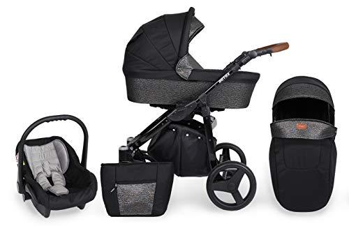 KUNERT Kinderwagen ROTAX Sportwagen Babywagen Autositz Babyschale Komplettset Kinder Wagen Set 3 in 1 (Schwarz mit Blitz, Rahmenfarbe: Schwarz, 3in1)