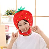 Wustrious Fruit Strawberry Hat Funny Plush Novelty Hat Head Cover Adult Kids Cosplay Props for Halloween Christmas Party Imaginative