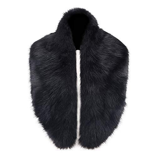 Caracilia Women's Winter Fake Faux Fur Scarf Wrap Collar Shawl Shrug Black CA96