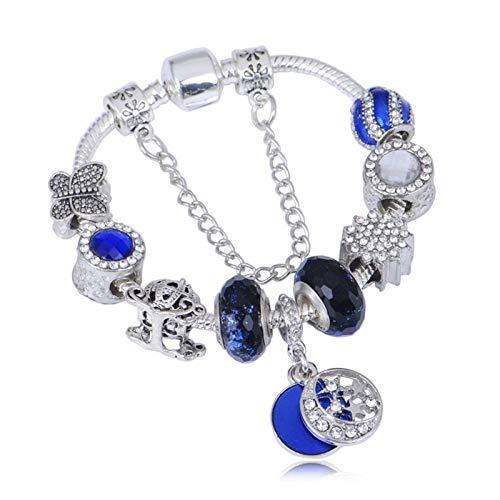 GHabby Pulsera Azul Estrellada para Mujer, Aleación Creativa y Brazalete de Muñeca de Diamantes de Imitación con Incrustaciones, Joyería de Cadena con Colgante de Estrella para Niña de Moda