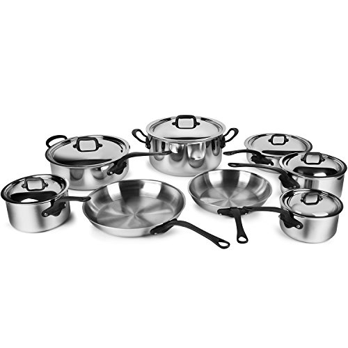 Mauviel M'Cook Pro 5-ply Stainless Steel Cookware Set, 14-piece