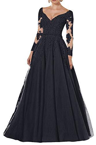 Vintage Abendkleider Lang Spitzen Ballkleider Brautmutterkleider A-Linie Hochzeitskleid Langarm Maxikleider Navy 32