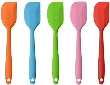MOACC Silicone Spatula - 500°F Heat Resistant Seamless Rubber Spatulas with Stainless Steel Core Kitchen Utensils Non-Stick for Cooking, Baking and Mixing, Set of 5