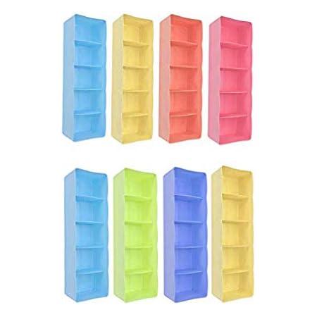 Go Hooked 5-Grid Plastic Storage Box Drawer Organizer (Set of 8) (Multicolor)