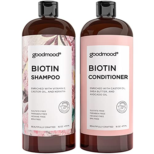 GoodMood Biotin Shampoo and Conditioner For Hair Growth, Hair Loss Treatment For Men and Women with DHT Blockers