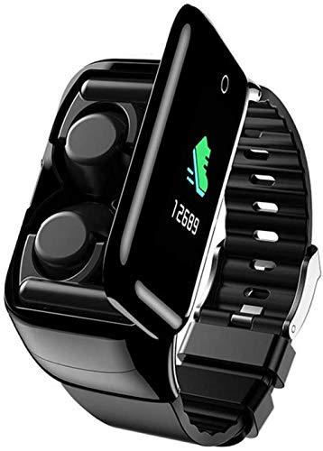 Reloj inteligente de 1.14 pulgadas de pantalla de color TPU inteligente y auriculares Bluetooth Combo recordatorio de mensaje de llamada Multi-Dial Ejercicio Fitness Tracker para Android e iOS Classic