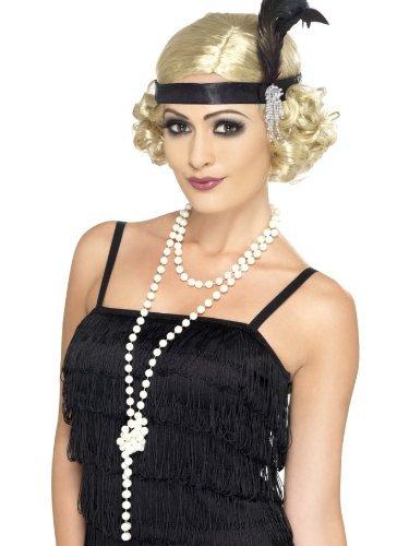 NET TOYS 20er Jahre Perlenkette Charleston Kette weiß 180cm Damenkette Perlen Kette Kostüm Accessoires