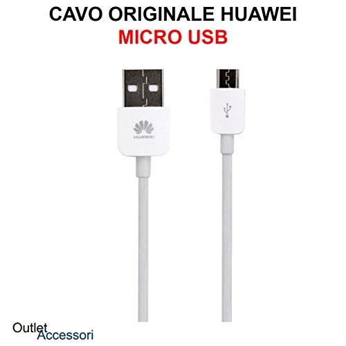 HUAWEI Cavo Cavetto Originale Dati Ricarica Micro USB P8 Lite 2017, P9 Lite, P10 Lite, Mate S P Smart Y6 Y7 Nova Young P7 C02450768A Bianco