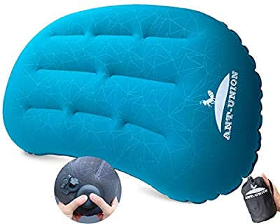 ANT-UNION Ultralight Inflatable Camping Travel Pillow - Fast Inflatable by Pressing - Compressible Pillows for Backpacking & Hiking, Small Compact, Great for Hammock Bed & Camp, Comfortable 30D Top